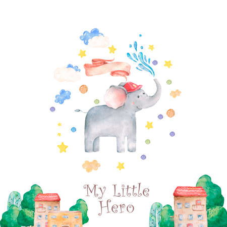 Cute baby safari animal elephant beautiful floral flowers wreath, frame, bouquet Watercolor hand drawn illustration on white background. Isolated cute animal. Rescue Team Baby cartoon invite card