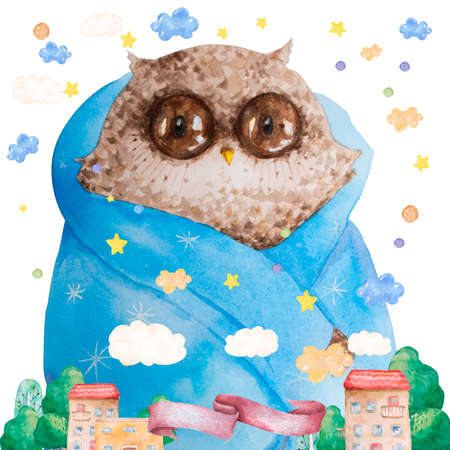 Watercolor cartoon isolated cute baby owl animal with flowers. Forest nursery woodland illustration. Bohemian boho drawing for nursery poster, patterns