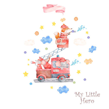Watercolor rescue kit. Little Heroes the fire rescue funny cartoon, hand drawn colorful illustration on white background. Cute animal, nursery clip art. Baby shower, axe, house