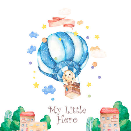 Watercolor isolated cute watercolor Bunny in air balloon and stars clipart. Nursery rabbit illustration. Baby poster. Trendy pink cartoon animal. Birthday invite card Celebration postcard Reklamní fotografie - 128642867