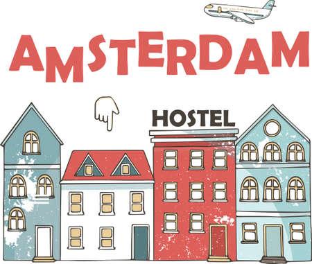 Netherlands, Amsterdam City line travel skyline set. Netherlands, Amsterdam City outline city vector illustration, symbol, travel sights, landmarks