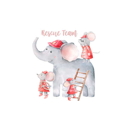 Cute baby safari animal elephant beautiful and little mouses Watercolor hand drawn illustration on white background. Isolated cute animal. Rescue Team Baby cartoon invite card