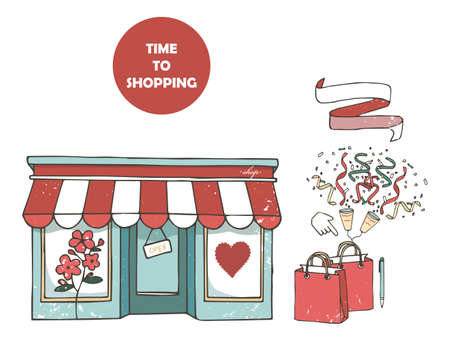 Flat design store fronts. Set of 9 shops and venues vector icons Ilustrace