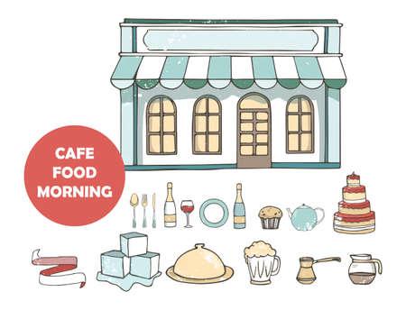 Breakfasts top view frame. Morning food menu design. Breakfast and brunches dishes collection. Vintage hand drawn sketch, vector illustration. Vintage style. Reklamní fotografie - 128642912