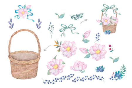 Watercolor wooden basket of flowers hand drawn illustration plate basket clip art on white background Floral creator for greeting card and celebration invite