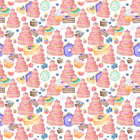 Pink tasty cake birthday isolated and color cups with berrypattern background of cute cupcakes in pastel colors watercolor, clip art for food pattern box, invite, birthday card on white background Reklamní fotografie - 128642901