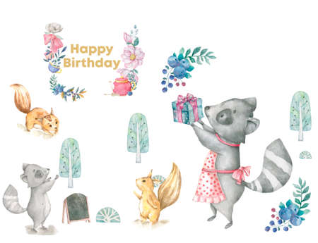 Greeting card illustration with birthday cake, roccoon, flowers and chocolate moon and blue pize box on cups pattern background watercolor style frame of flowers bow Stock fotó