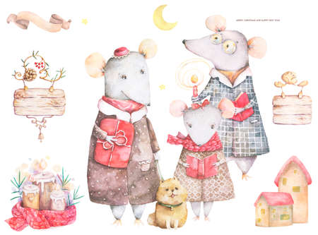 Little Mouse in a red striped pullover and scarf with fir tree. Merry Christmas lettering quote. New Year card, hand drawn illustration. Watercolor animals set. Family composition for greeting card Reklamní fotografie - 128642944