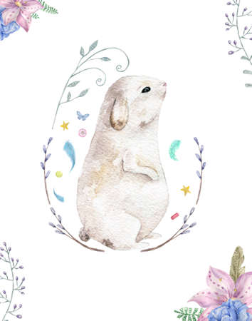 Bunny rabbit with flowers  watercolor. Cute spring card. Easter holiday greeting Zdjęcie Seryjne