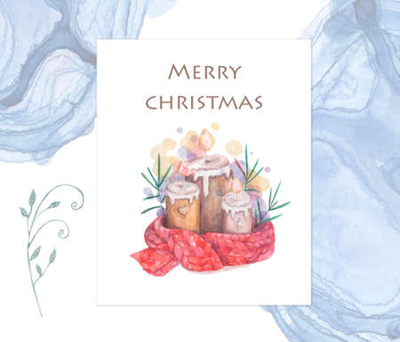 Melted candle. Cartoon clip art illustration on isolated background. Watercolour imitation. Christmas poster or postcard design. Reklamní fotografie - 128643059