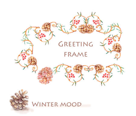 Horizontal template card for New Year. Framework with pine branches, cones, needles, decorative twigs on white background, hand draw, watercolor style, botanical illustration. Christmas tree, Imagens