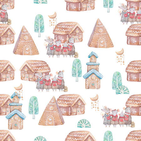 Watercolor Merry Christmas seamless patterns with christmas tree and rat and little house, holiday cute baby mouse animals. Christmas tree celebration paper. Winter new year design
