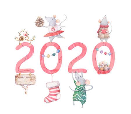 Cute cartoon christmas rat mouse christmas card. Watercolor hand drawn animal illustration. New Year 2020 holiday drawing Reklamní fotografie - 128643061