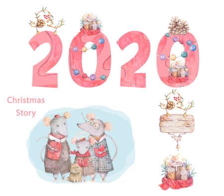 Cute cartoon christmas rat mouse christmas card. Watercolor hand drawn animal illustration. New Year 2020 holiday drawing Reklamní fotografie
