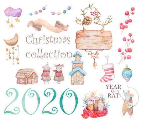 Cute white rat and mouse illustration. Symbol 2020 characters white rat santa, angel, illustration drawn in cartoon style, Christmas winter background, house, postcard design. Reklamní fotografie - 128643067
