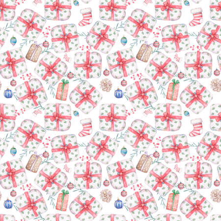 Seamless pattern of gift box with red ribbon bow Background with a pattern of watercolor illustration boxes Design element for advertising Birthday Christmas Reklamní fotografie - 128643101
