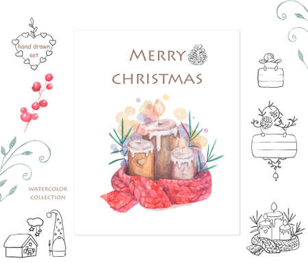 Melted candle. Cartoon clip art illustration on isolated background. Watercolour imitation. Christmas poster or postcard design. Reklamní fotografie - 128643129