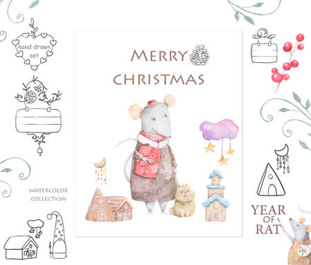Cute white rat and mouse illustration. Symbol 2020 characters white rat santa, angel, illustration drawn in cartoon style, Christmas winter background, house, postcard design. Reklamní fotografie - 128643133