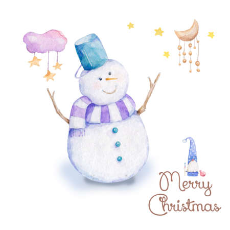 Set of Christmas Snowman , Forest Animal ,Can be used for baby t-shirt print, fashion print design, kids wear, baby shower celebration greeting and invitation card. Archivio Fotografico - 128643132