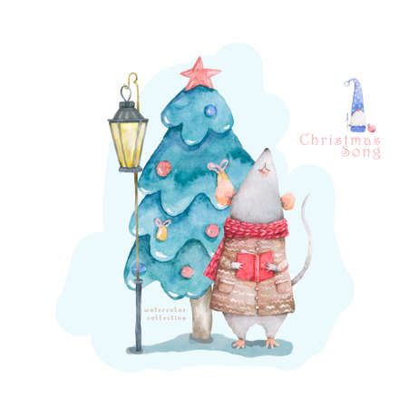 Cute white rat and mouse illustration. Symbol 2020 characters white rat santa, angel, illustration drawn in cartoon style, Christmas winter background, house, postcard design.