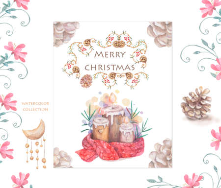 Melted candle. Cartoon clip art illustration on isolated background. Watercolour imitation. Christmas poster or postcard design. Stock fotó