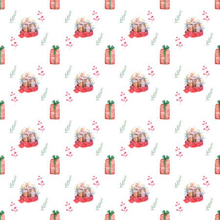 Seamless pattern Hand drawn sketch Burning candle in christmas candlestick of fir branches with colorful watercolor blots. illustration.