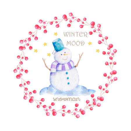 Set of Christmas Snowman , Forest Animal ,Can be used for baby t-shirt print, fashion print design, kids wear, baby shower celebration greeting and invitation card.