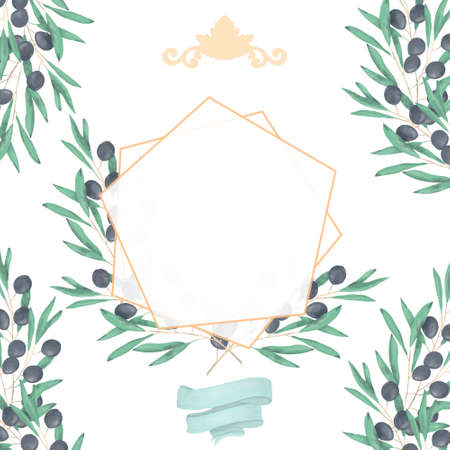 Wedding Invitation, floral invite card, olive floral and magnolia geometric golden frame print. White background 스톡 콘텐츠