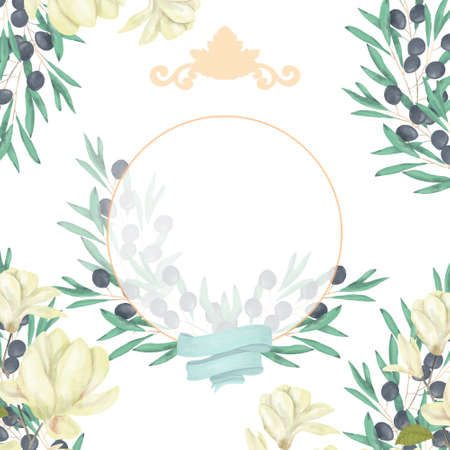 Wedding Invitation, Watercolor floral invite card, olive floral and magnolia geometric golden circle frame print for greeting card. White background.
