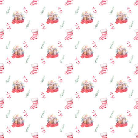 Watercolor seamless pattern Hand drawn Burning candle in christmas candlestick of fir branches with colorful painting red scarf and sock. Holiday illustration. colorful on white background Zdjęcie Seryjne