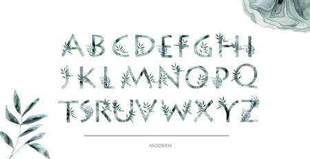 Watercolor elegant and modern font with floral. Letters Alphabet with branch leaves and flowers. Isolated alphabetic fonts and numbers on white background. Floral wedding font typeset illustration.
