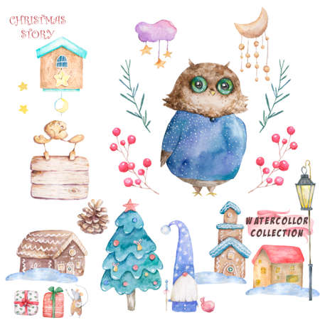 Owl in a cap and scarf were drawn by hand. Cute Watercolor colorful set illustration for greeting card, poster, or print on clothes. Isolated painting cli art on white background