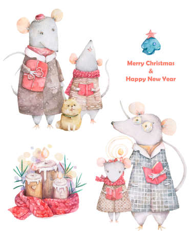 Happy chinese new year 2020 card with watercolor cute rat Family funny rats and candle, red colorful painting. on white background