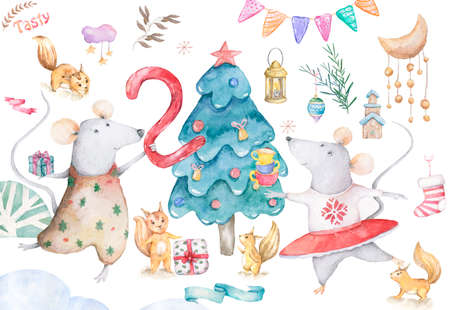 Cute watercolor cartoon set rats and spruce tree. Watercolor hand drawn animals illustration. New Year 2020 holiday drawing illustration. Symbol 2020 Merry Christmas gift card. Greeting postcard Reklamní fotografie