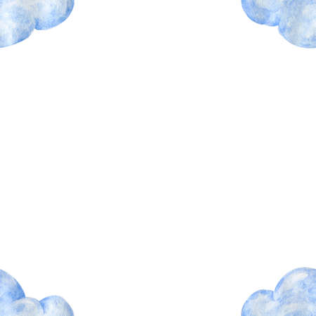 light blue watercolor clouds frame on white background Hand drawn illustration fly cloud and sky Stok Fotoğraf