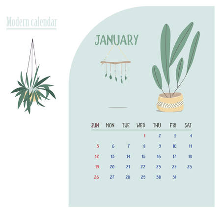Monthly Calendar 2020. Cute printable creative template with beauty and floral elements. Plants and home garden. Tren Modern Vector illustration. Proximity to nature. Nature connect Ilustrace