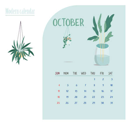 Monthly Calendar 2020. Cute printable creative template with beauty and floral elements. Plants and home garden. Tren Modern Vector illustration. Proximity to nature. Nature connectMonthly Calendar 2020 Çizim