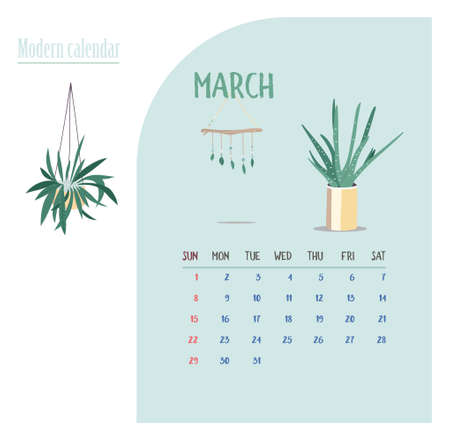 Monthly Calendar 2020. Cute printable creative template with beauty and floral elements. Plants and home garden. Tren Modern Vector illustration. Proximity to nature. Nature connect Çizim
