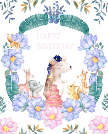 Cute baby Bear with forest animals isolated illustration for children. Bohemian watercolor boho forest deer family watercolor drawing Perfect for nursery posters. Birthday invite. Banque d'images - 130797501