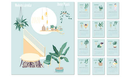 Calendar 2020. Calendar set with yoga woman sitting minimalistic geometric scandinavian style and trendy colors. Week Starts on Sunday. Çizim