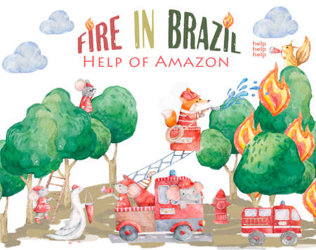 Pray For Amazonia Forest Fires Burning in Amazon Brazil. Watercolor cute illistration with heplers. Save Amazon forest with animals. Stok Fotoğraf