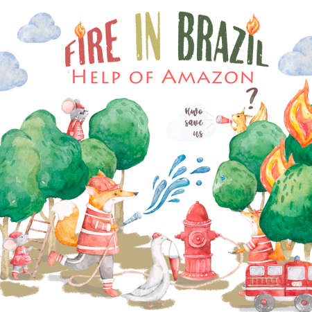 Pray For Amazonia Forest Fires Burning in Amazon Brazil. Watercolor cute illistration with heplers. Save Amazon forest with animals. Hwo Help animals in wild life
