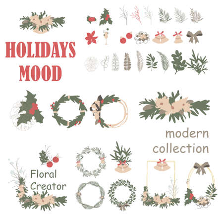 Christmas Wreath Frame Collection. Modern illustration for holidays. Colorful clip art creator 2020