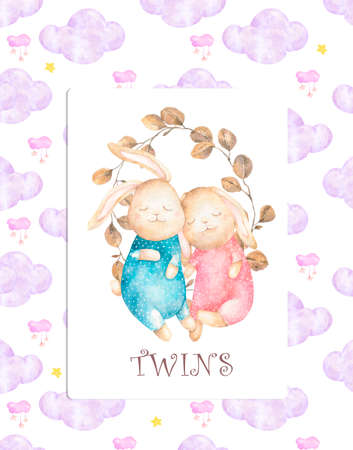 Cute watercolor Twins Bunny birthday greeting cards,posters for baby room, baby shower, greeting card, kids and baby t-shirts and wear. Hand drawn nursery illustration. Funny animal and pink sky