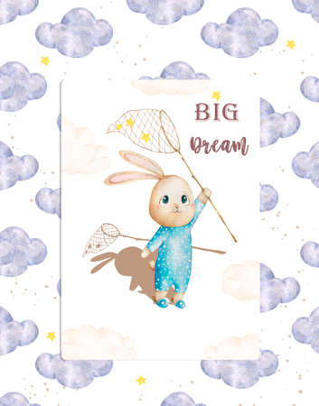 Watercolor hand drawn colorful cute illustration. For invite, celebration, birthday and poster Banque d'images - 130798739