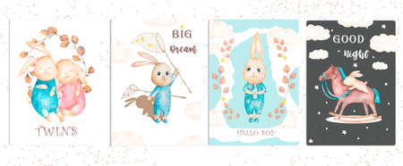 Cute watercolor set bunny birthday greeting cards,posters for baby room, baby shower, kids and baby t-shirts and wear. Hand drawn nursery illustration. Baby pet animal collection