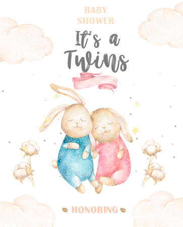 Cute watercolor Twins Bunny birthday greeting cards,posters for baby room, baby shower, invite, kids and baby t-shirts and wear. Hand drawn nursery illustration. Funny animal and cotton Stock Photo