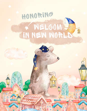 Watercolor hand drawn colorful cute illustration. For invite, celebration, birthday and poster