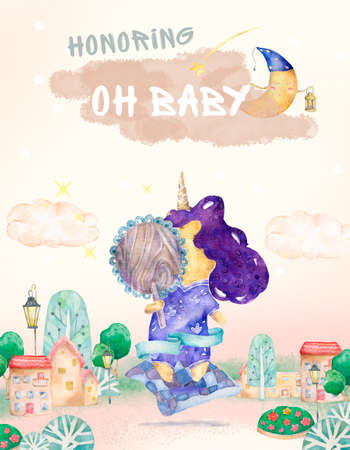 Baby shower posters, invites. Cards with cute unicorn and font, pastel colors. Cut unicorn look on mirror and city background watercolor purple colorful illustration for poster, invite for child