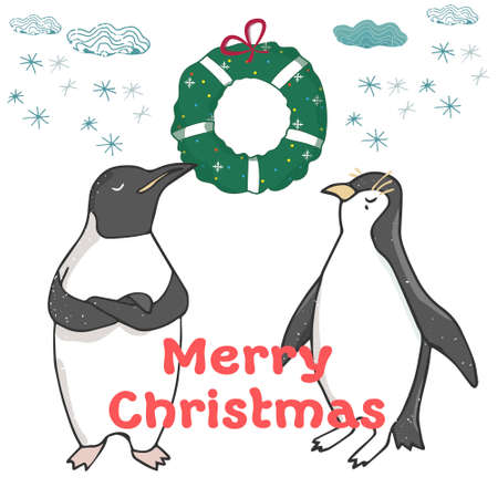 Funny and cute penguins Christmas Tree. Merry Christmas and Happy New year card. Christmas card in cartoon style. Vector illustration. new years eve